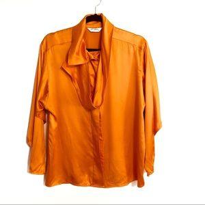 St. John Tangerine Long Sleeve Silk Blouse